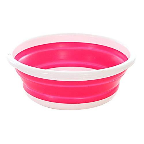 Alberta Tragbarer Waschbecken Faltbare Eimer Folding Becken Eimer Haushaltswäsche Auto-Wäsche im Freien kampierende Spielraum-Wäsche-Badezimmer-Bassin-L Grün (Color : L Pink)