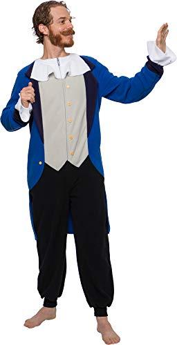 Funziez! Colonial Pilgrim Costume - Adult One Piece- Patriot Pajamas (Blue, L)