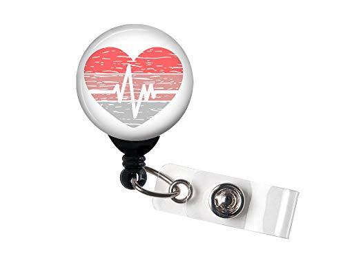 Retractable Badge Reel - Distressed Heart EKG - Badge Holder with Swivel Clip/Nurse Badge/Hospital/Cardiology/Cardiac