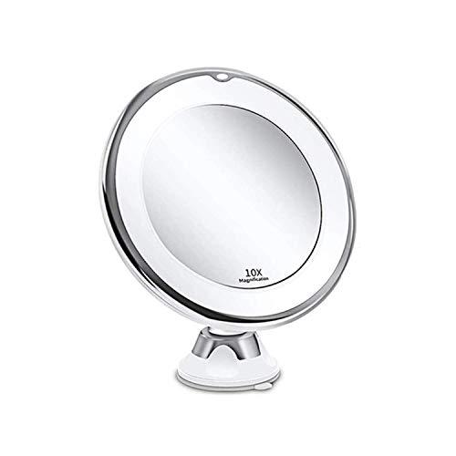 Infitrans Specchio da Trucco LED Ingrandimento 10X con Ventosa,specchio ingranditore con luce Specchio Cosmetico Illuminato Ingrandente x10 - Bagno Make Up Baxtterie USB - Bianco