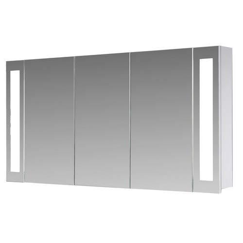 Eurosan, Armario con Espejo para baño, iluminación LED, 3 Puertas, 120 x 62 cm (Anchura x Altura), Color Blanco, San Francisco SF120