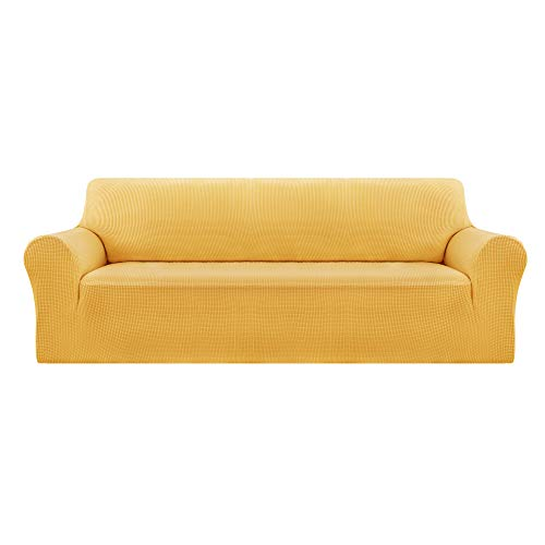 Deconovo Jacquard Sofa Covers Full Coverage Stretch Slipcovers Small Checks Polyester Anti-Slip Spandex Fabric Sofa Fabric Protector Couch Cover(Three Seater, Yellow)