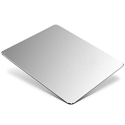 "HONKID Metal Aluminum Mouse Pad, Office and Gaming Thin Hard Mouse Mat Double Sided Waterproof Fast and Accurate Control Mousepad for Laptop, Computer and PC,9.05""x7.08"", Silver"