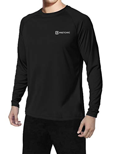 Pretchic Men's UPF 50+ UV Sun Protection Long Sleeve Outdoor T Shirt Black M