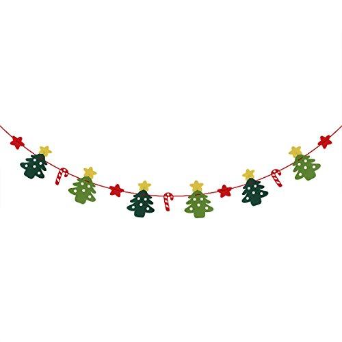 OULII 3M Weihnachten Banner Bunting Weihnachtsbaum Sterne Zuckerstange Anhänger Girlande Wimpel Weihnachtsdeko Party Dekoration
