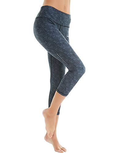 COOLOMG Damen Sport Leggings Yoga Hose Caprihose Fitnesshose 3/4 Sporthose Kreis_schwarz S