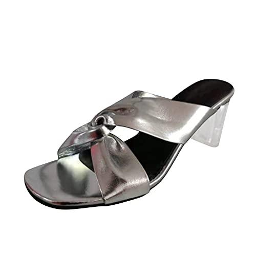 Sandalias Mujer tacónes Transparentes Verano 2021 Sandalias de Vestir Sin Cordones con Punta Abierta Zapatillas Mujer Casual cómodo Aire Libre Zapatos tacónes Mujer Damas Fashion