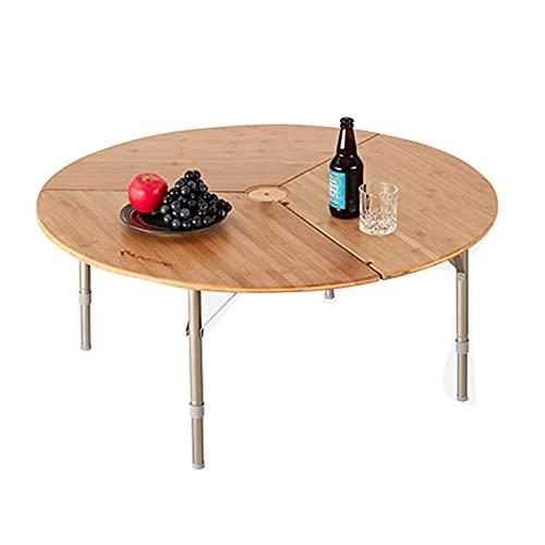 Tavolo da pranzo portatile per esterni piccolo tavolo da pranzo rotondo in bambù, tavolo da campeggio in alluminio regolabile in altezza, adatto per esterni, picnic, cucina, spiaggia, escursioni