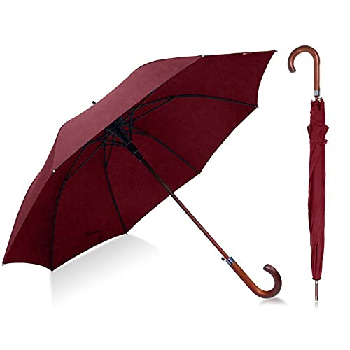 GUIYONGMY Umbrella Umbrella Man Cane Wind Umbrella Male Walking Stick Men's Long Wind Proof Umbrellas Man Resistant Classic Umbrella Men (Color : Burgundy)