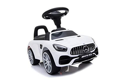 Toyas Mercedes-Benz AMG GT Rutschauto Kinderauto Rutscher Bobby Car Big Bobby Car mit Soundeffekten am Lenkrad und Rückenlehne Weiss
