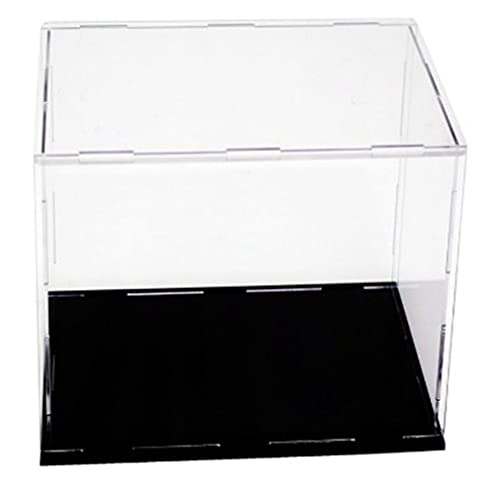 M/S Vitrina acrílica Cubo Transparente Caja acrílica para Figuras de acción Muñecas Base Negra Transparente 10 * 10 * 10 cm