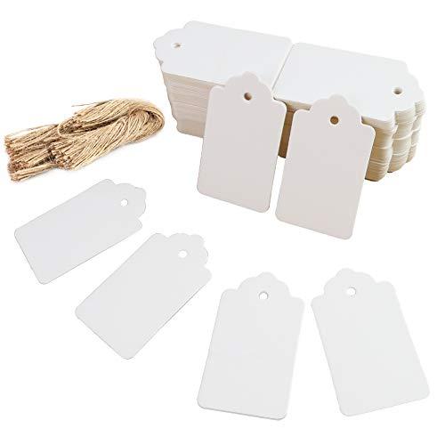 HAKACC Kraftpapier Anhänger, 200 STK. Geschenkanhänger Weiß Etiketten Kraftpapier Anhänger mit Schnur Wunschkarten für Hochzeit Weihnachten