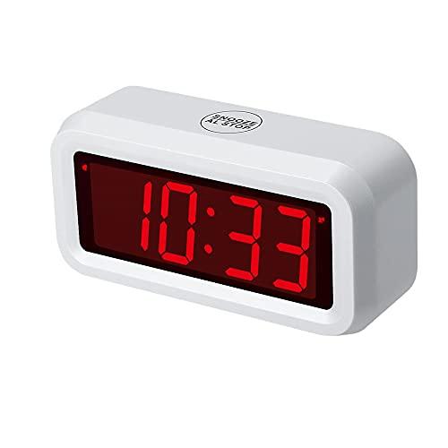 """Timegyro Digitaler Wecker Batteriebetriebene Tischuhr mit 1,2\"""" Display für Schlafzimmer, schwere Wache (weiß)"""