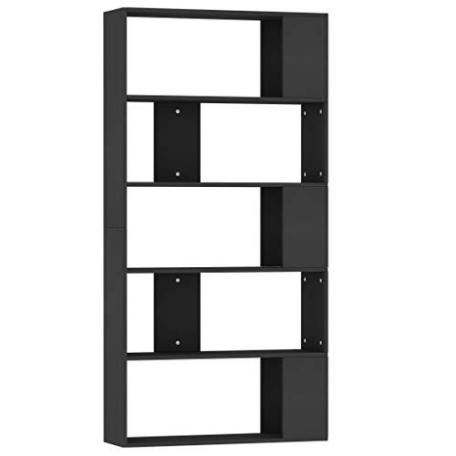 Festnight Estantería Librería Separador Ambientes Divisor de Espacios Aglomerado Negro 80x24x159 cm