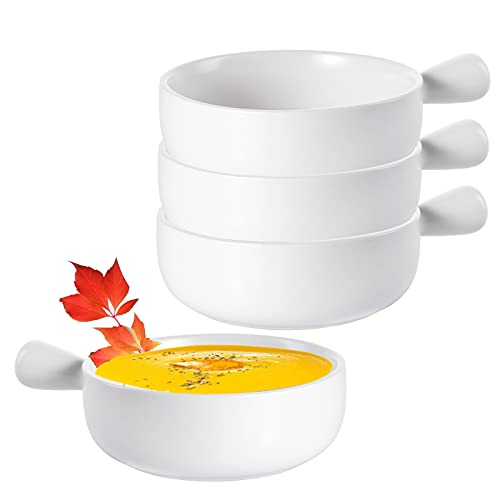 TOPZEA Set of 4 French Onion Soup Bowls with Handles, 20 Ounce Ceramic Serving Bowl Set Soup Crocks for Soup, Stew, Chilli, Cereal, Microwave and Oven safe, White