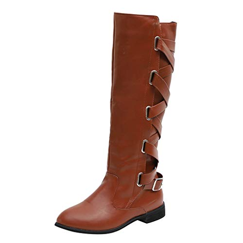 Alwayswin Damen Stiefel Winter Cross Strap Schnee Kniehohe Stiefel Cowboy Warme Schuhe Vintage Leder Overknee-Stiefel rutschfeste Elegant Lange Stiefel Winterstiefel Schnürstiefel