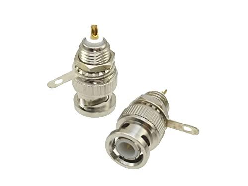 SPRINGHUA 1 conector BNC macho con tuerca de soldadura de mamparo adaptador de conector coaxial RF (paquete: 10 49 piezas)