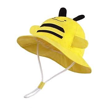 LANGZHEN Kids Summer Sun Protection hat Cute Animals Designed Toddler Baby Boys Girls Bucket hat Yellow - bee L  2T-4T  52cm /20.5