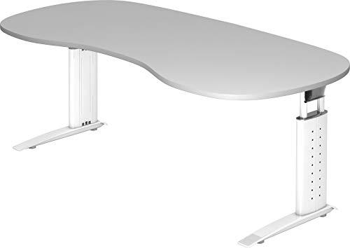 bümö® Schreibtisch höhenverstellbar 68-86 cm | Bürotisch mit Gestell in weiß | höhenverstellbarer Büroschreibtisch | Tisch für's Büro & PC in Top Qualität - Nierenform: 200 x 100 cm, Grau