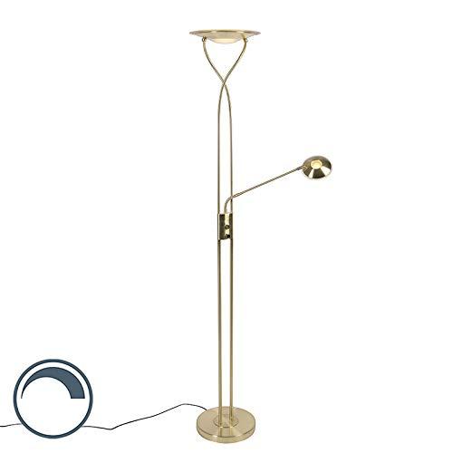 QAZQA Modern Moderne Stehlampe Gold/Messing inkl. LED mit Lesearm - Mallorca Dimmer/Dimmbar/Innenbeleuchtung/Wohnzimmerlampe/Schlafzimmer/Deckenfluter Stahl/Glas Länglich / (nicht austaus