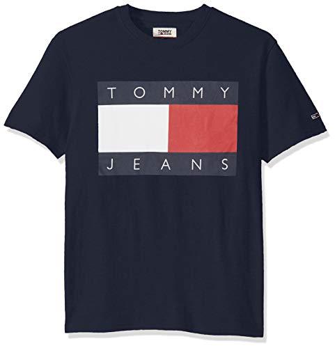 Tommy Hilfiger Tommy Jeans Men's Short Sleeve Graphic Logo T Shirt, Black Iris, Large