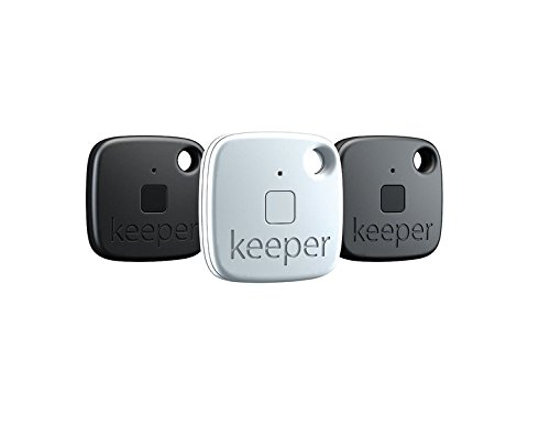 Gigaset keeper Schlüsselfinder (mit Bluetooth-Beacon und Signalton, LED-Licht zum finden des Schlüssels) 3er-Set schwarz/weiß
