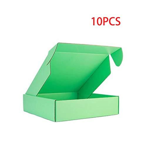 10 Stück Box Farbe Paket Karton Kleine Geschenkbox Perücken Blanko 3 Schichten Wellpappe Home Dekoration (Farbe: Grün, Größe: 32 x 25 x 5 cm)