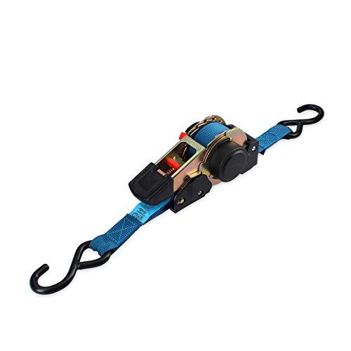 Ferrestock FSKCOS002 - Cinghia di fissaggio con cricchetto, ganci in acciaio rinforzato e sistema di recupero automatico, blu