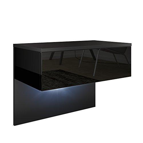 Vladon Nachttisch Nachtkonsole Sleep, Korpus in Schwarz matt/Front und Seiten in Schwarz Hochglanz, inkl. LED Beleuchtung