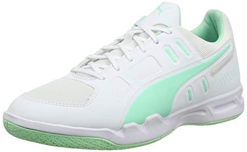 PUMA Men's Futsal Shoes, White Green Glimmer, 39