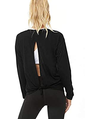 Bestisun Long Sleeve Activewear for Women Long Sleeve Workout Shirts Gym Clothes Tie Back Athletic Tops Open Back Sweatshirts Workout Running Tops for Women Black XL