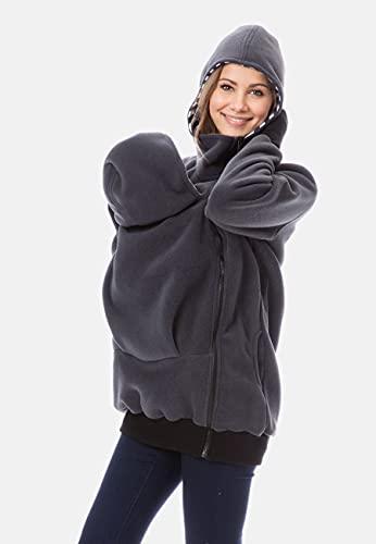 GoFuture Damen Tragejacke für Mama und Baby Känguru Klassiker VIVA GF2301XI5 Graphit mit marineweißen Streifen - 6