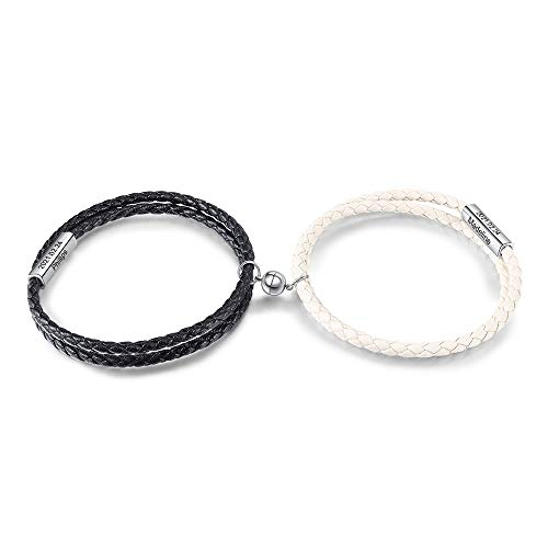 Nombre personalizado Juego de pulseras magnéticas para parejas para hombres, mujeres, atracción mutua, cuerda hecha a mano, 2 pulseras trenzadas a juego, pulseras de amor para novio, novia