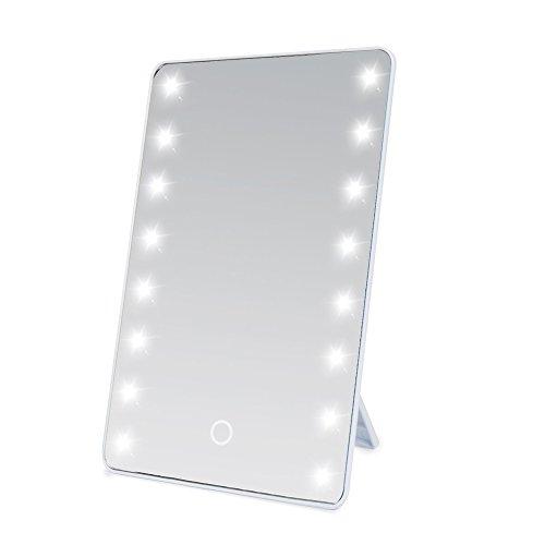 LED Kosmetikspiegel mit Licht, Herryke Make-up-Spiegel mit 16 LEDs Beleuchtung durch Touch-Schalter Einstellbare Helligkeit Standspiegel Profi Schminkspiegel Tischspiegel Batteriebetrieben