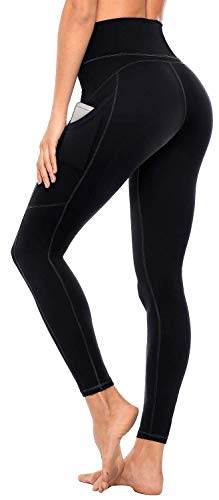 Anwell Damen Leggings Yoga Leggins warm lang mit Tasche Leggings Blickdicht Sport High Waist Leggins Kompression Schwarz L