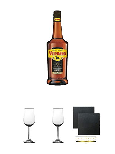 Osborne Veterano 8 Jahre spanischer Brandy 0,7 Liter + 2 Bugatti Nosing Gläser mit Eichstrich 2cl und 4cl + 2 Schiefer Glasuntersetzer eckig ca. 9,5 cm Ø