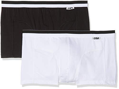 Unno DIM Basic Algodã³n Elã¡stico Bóxer, Blanco (Blanco/Negro), L (Tamaño del fabricante:4) (Pack de 2) para Hombre