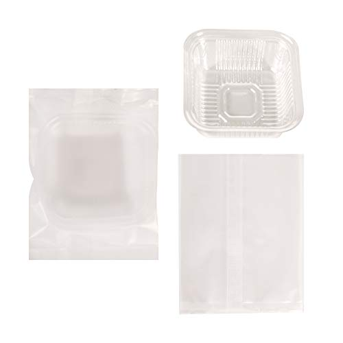 50G Moon Cake Plastic Bags Hot Seal Half Clear Cookie Candy Container 4.5 * 3.5 Inch 100 Counts
