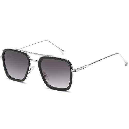SHEEN KELLY Luxus Retro Sonnenbrille Quadratische Brillen Metallrahmen für Männer Frauen Klassiker Sonnenbrille Piloten Silber Schrittweise Linsen, Grau