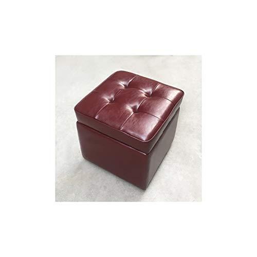 BKWJ Taburete de Almacenamiento de Cuero, Taburete de sofá, Taburete de Cuero de Vaca, Caja de Almacenamiento multifunción, 40 * 40 * 40 cm (Color : Red)