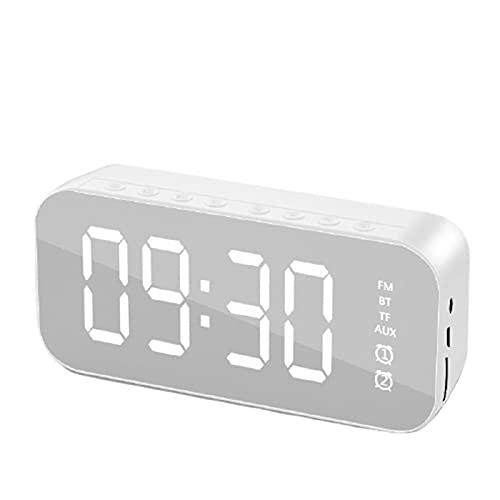 NOIFATY DIRIGIÓ Espejo de Reloj Despertador Reloj Reloj Reloj Digital inalámbrico Bluetooth 5.0 MP3 Altavoz TF FM Llamada Libre (Color : Silver)