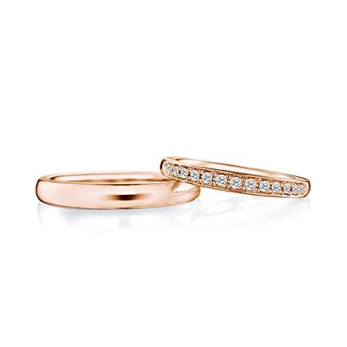 AmDxD 2Pcs Anillo Oro Rosa 18 Kilates Redondo Diamante
