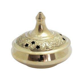 Bruciatore per incenso, in ottone, con perforazioni a stella per fuoriuscita fumo, per bruciare dischetti di carbone, coni di incenso e resina o da usare per decorare o come zuccheriera