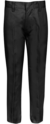 Premium Flat Front Pants for Boys with Adjustable Waist 5 Black