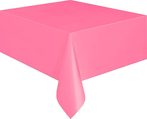 Unique Party- Plastic Tablecover Rectangle Tovaglia Plastificata, Rosa Shocking, 5082