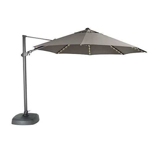 KETTLER 3.5m Free Arm Parasol Taupe Canopy with LED lights & Bluetooth Speaker