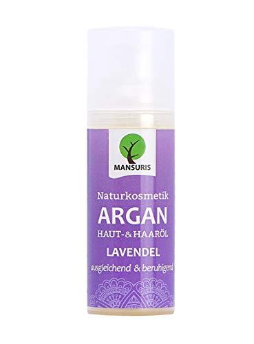Bio Arganöl Lavendel - Pflegeöl kaltgepresst für Haare, Körper, Haut & Gesicht - Vegan & ungeröstet 100{8c45e3658f6414d177a5f0cd5ec3f9ba35d87ae4e58af91738ae8ff038f738ae} natürliches Körperöl, Hautöl für strahlende straffe Haut & Anti Falten Pflege 50ml