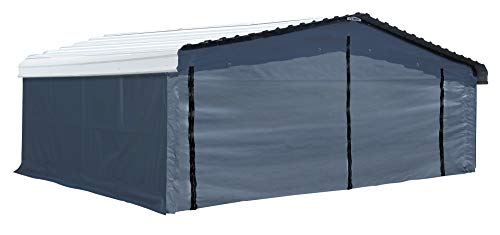Arrow Shed Fabric Enclosure Kit with UV Treated Cover for 20 x 20' Carports (Metal Carport not Included), Gray