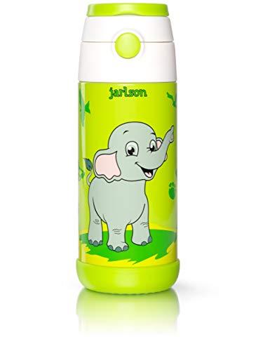 Jarlson Trinkflasche Kinder - Thermo Edelstahl Wasserflasche 350ml - BPA frei - auslaufsicher - Kinderflasche mit Strohhalm - Flasche für Schule, Kindergarten, Fahrrad (Elefant, 350 ml)