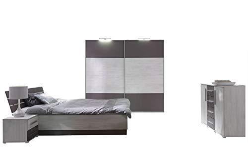 Mirjan24  Schlafzimmer-Set Dione I, Kleiderschrank mit LED-Beleuchtung, 2 Nachttische, Kommode, Schwebetürenschrank, Nachtkommode, Schlafmöbel...